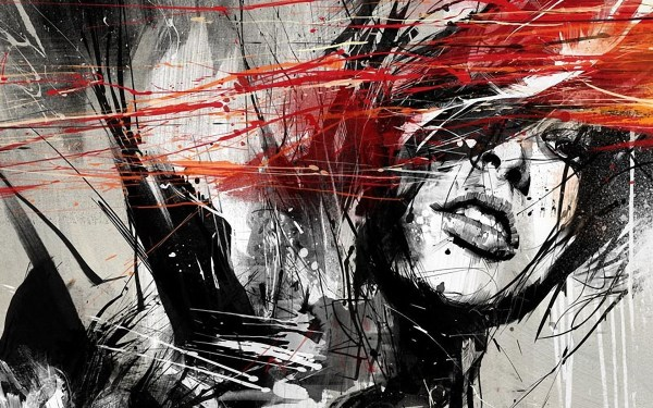 Red Black and White Background Urban Art