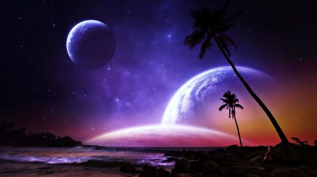 planets fantasy galaxy space stars worlds earth dreams beaches colorful wallpaperup palms
