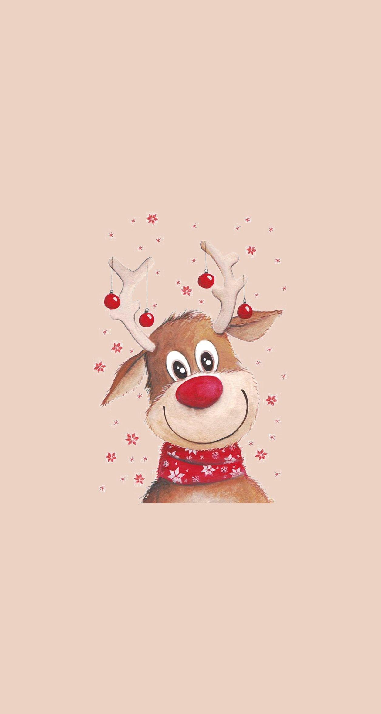 Cute Christmas Cute Reindeer Wallpaper Novocom Top