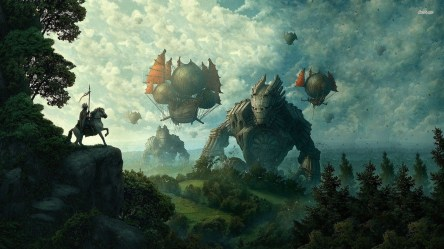 medieval wallpapers airship fantasy hd desktop landscape background painting backgrounds wallpaperaccess anime attachment getwallpapers