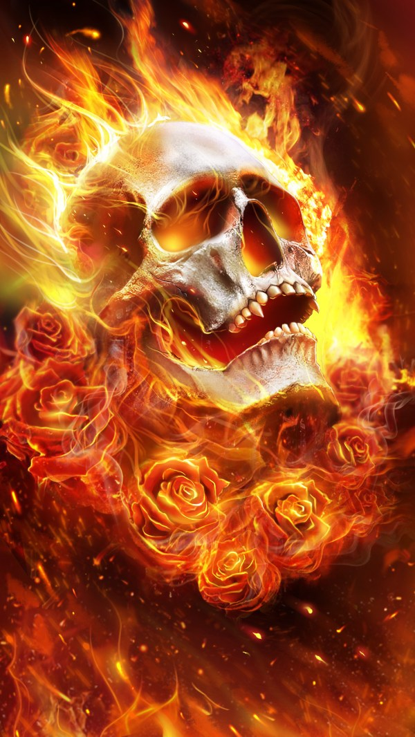 Flames Skull with Roses