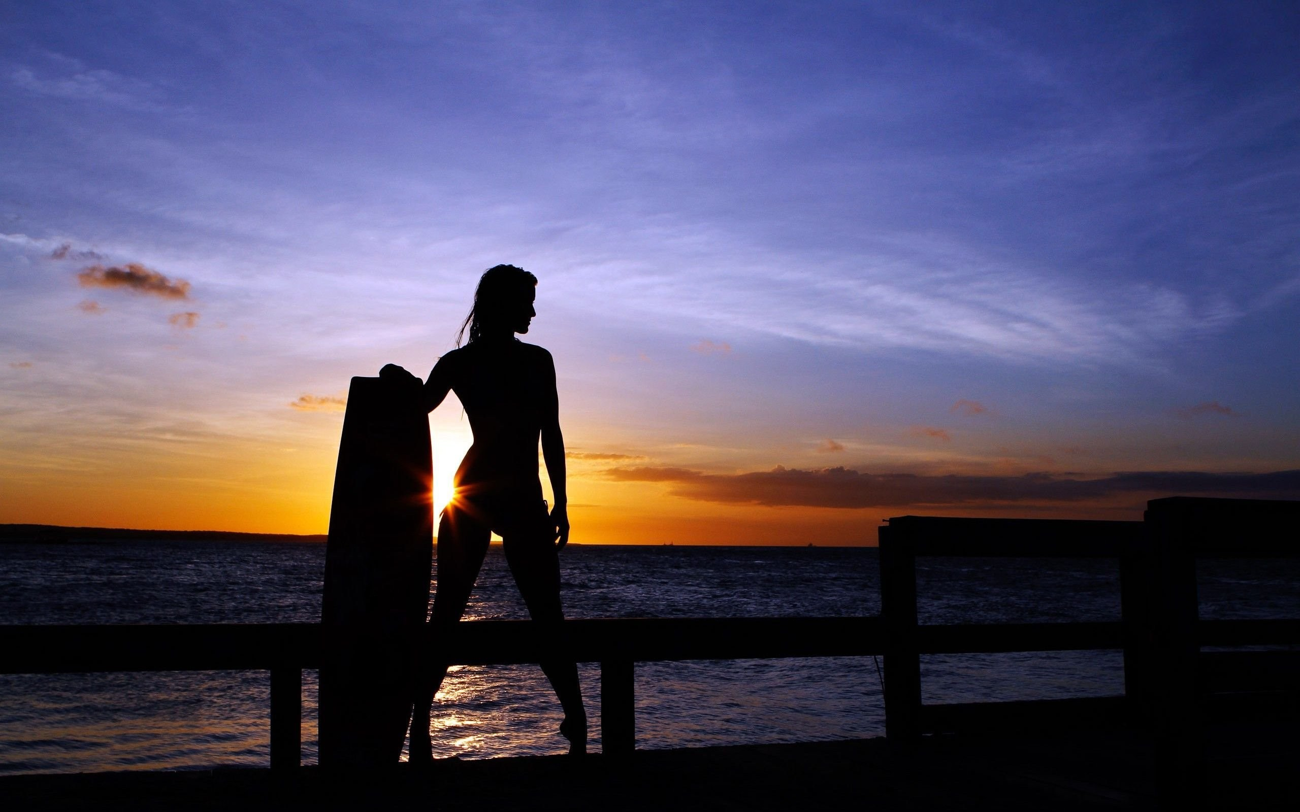 Surfer Girl Silhouette Sunset Wallpaper Surfing Wallpaper For Iphone 66 Images