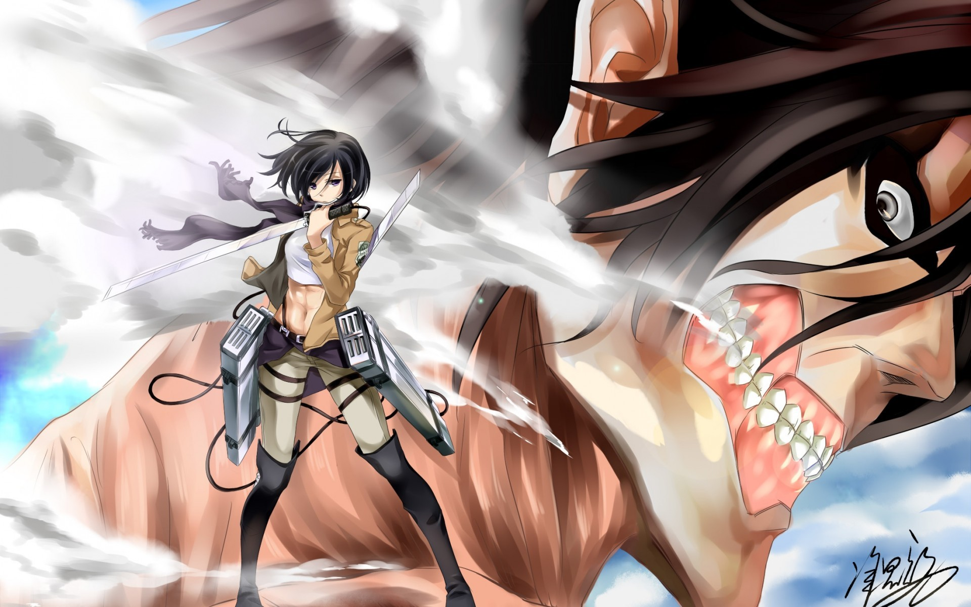 Attack On Titan Mikasa And Eren Wallpaper Attack On Titan Mikasa Ackerman Wallpapers 82 Images Hd Wallpaper Anime Attack On Titan Eren Yeager Mikasa Ackerman Shingeki No Kyojin Armin Arlert 4k