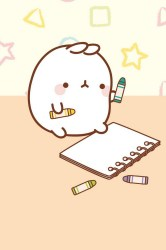 kawaii cute wallpapers backgrounds molang iphone background bunny galaxy lollimobile chibi drawings character wall drawing draw cartoon bunnies 몰랑이 귀여운