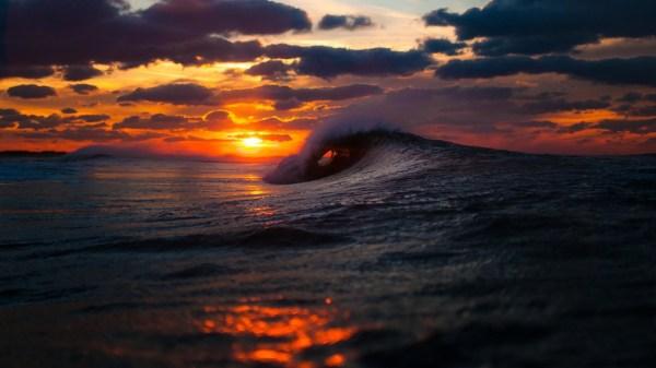 Ocean Waves Sunset Beach
