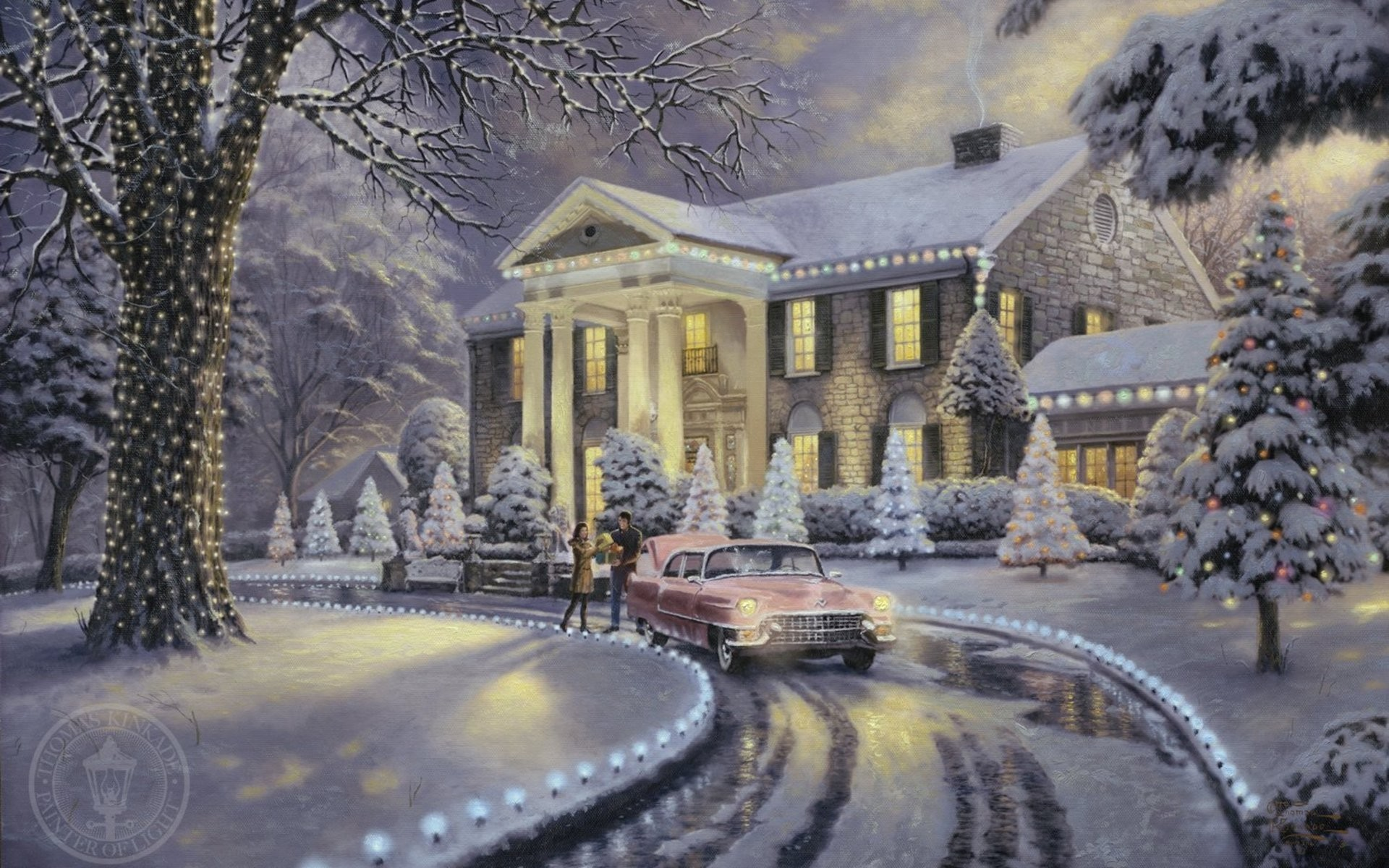 Beautiful Fall Paintings Wallpapers Thomas Kinkade Christmas Wallpapers 59 Images