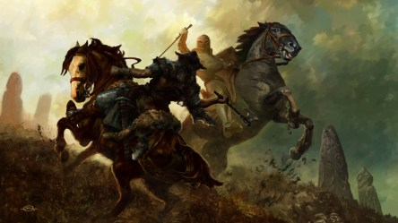 battle fantasy hd medieval horses wallpapers epic warrior warriors knight fight fighting horse knights axe sword desktop paintings war pc