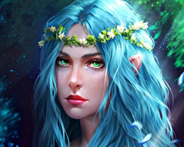 Blue Eyes Green Hair Elves