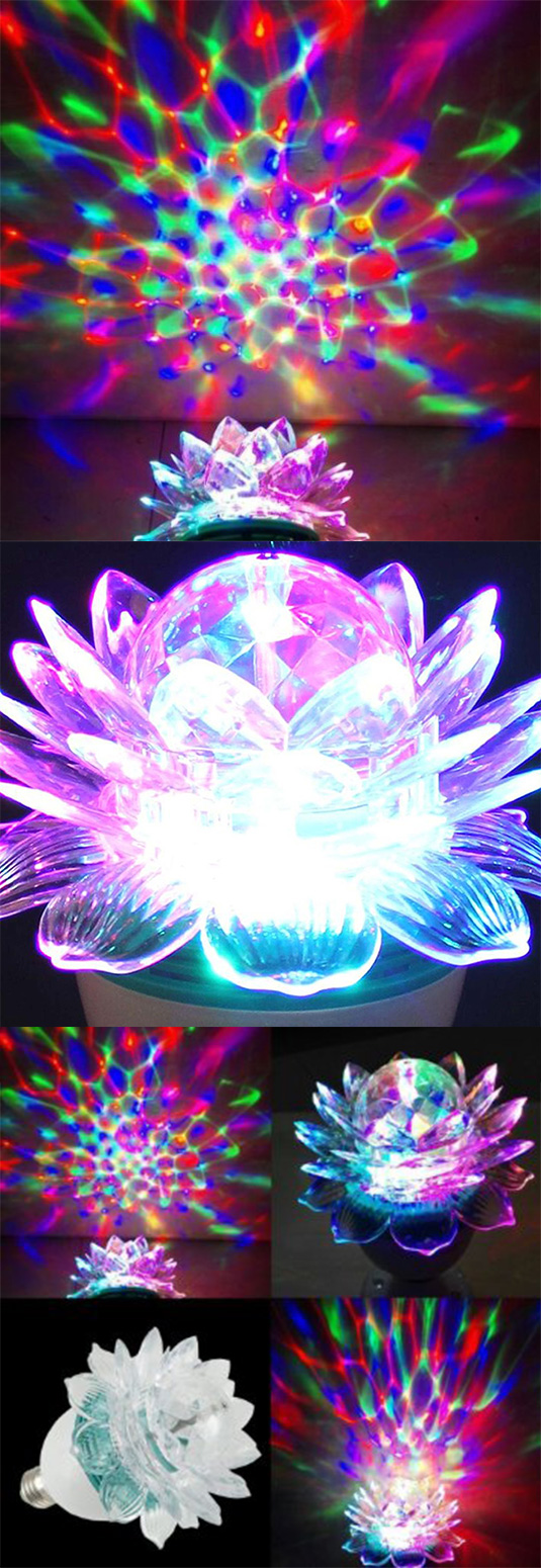 The Flower Shaped Rotating MultiColored Light Bulb is a
