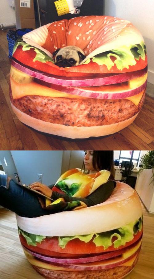 Sit Like a Burger King in the Hamburger Bean Bag Chair