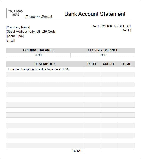 7+ Bank Statement Templates  Word Excel Pdf Formats
