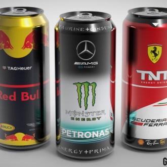 Ferrari F1 TNT Mercedes Monster RedBull racing drinks cans