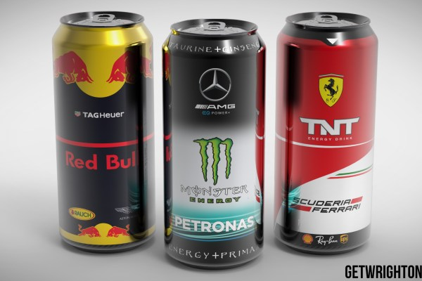 Ferrari F1 TNT Mercedes Monster RedBull racing drinks cans