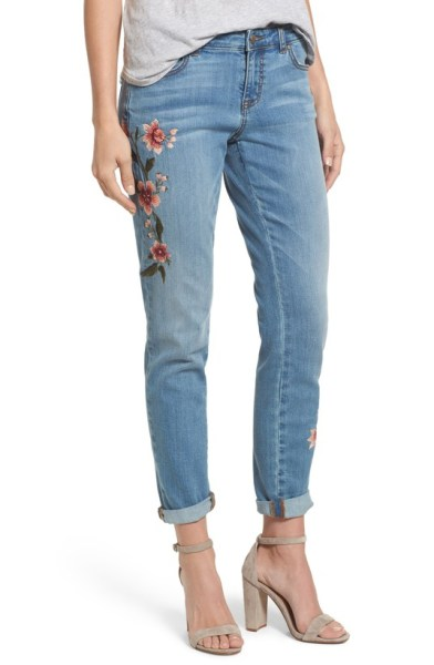 embroidered jeans spring 2018 trend