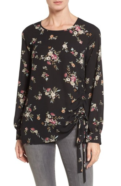 floral side tied blouse