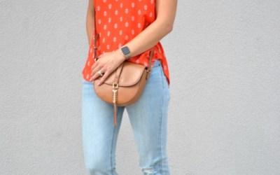 SAHMonday:  Orange Blouse + Flare Jeans