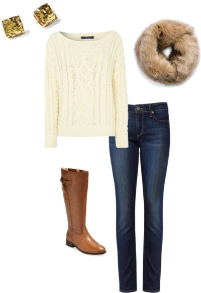 Easy Winter Outfit | Neutral Cable Knit Sweater, Fur Scarf and Skinny Jeans