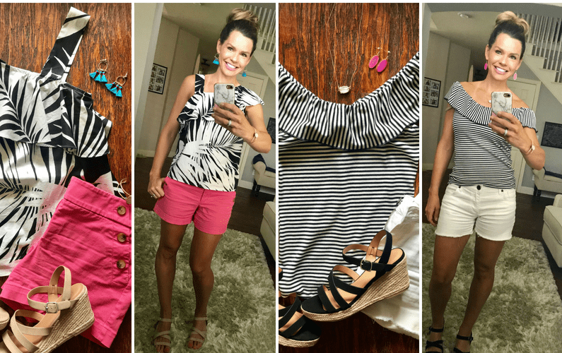 Two Black and White Summer Outfits with Pops of Pink