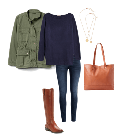 fall closet staples riding boots tote utility jacket