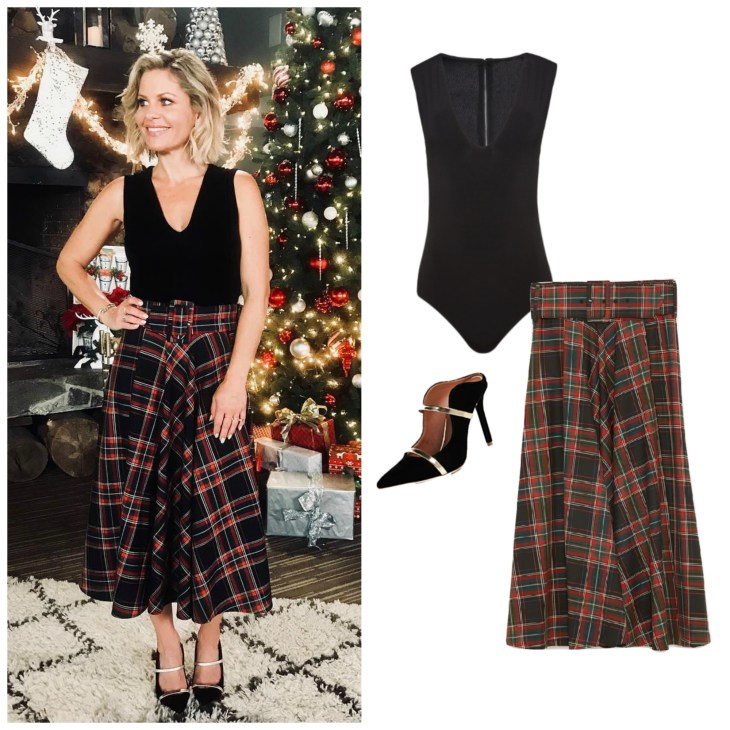 candace cameron bure plaid skirt shoe addict's christmas outfit