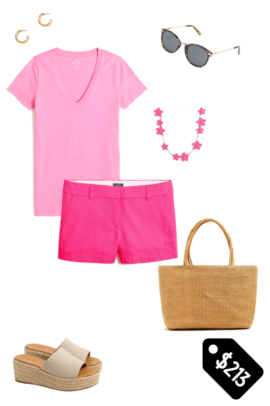 Monochromatic outfit from J.Crew Factory with gold hoop earrings, tortoise shell sunglasses, a pink v neck shirt with a pink and gold flower necklace, pink shorts, a straw tote and canvas espadrille wedge mules.