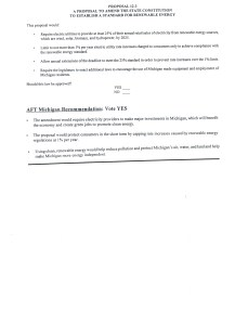 Ballot Language along with AFT Michigan's voting recommendation and reasoning for Proposal 3