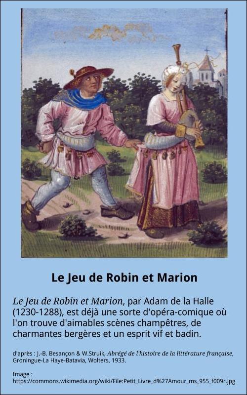 Le Jeu De Robin Et Marion : robin, marion, Robin, Marion, Française