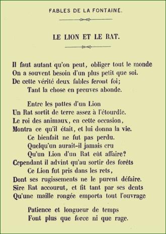 Le Lion Et Le Rat Analyse : analyse, Fontaine, Française