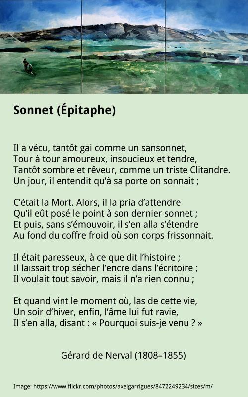 Gérard de Nerval – Sonnet (Épitaphe)