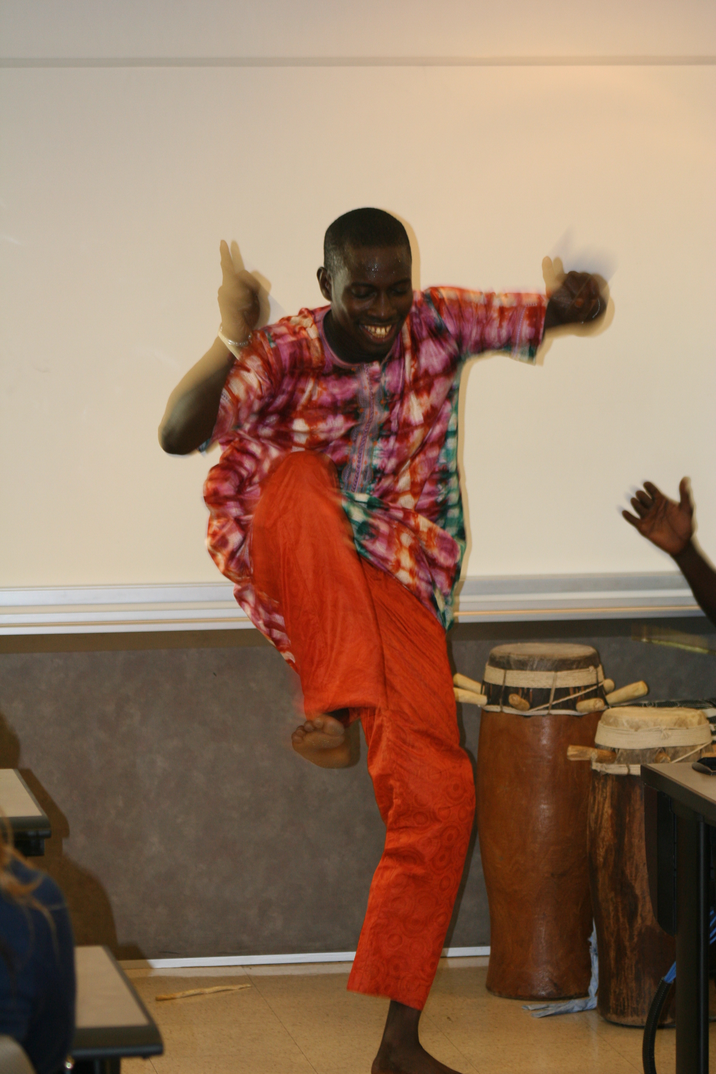 Aziz Faye demonstrates a dance.