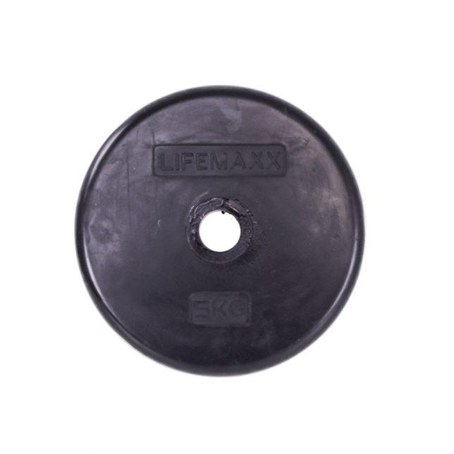 Rubber coated halterschijf 30mm 5 kg - zwart