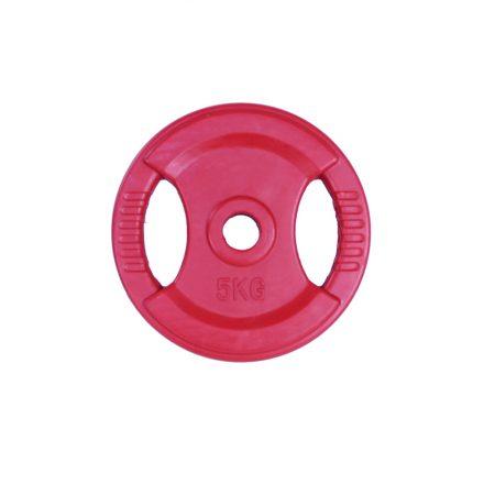 Body pump rubberen schijf 30mm 5 kg - rood