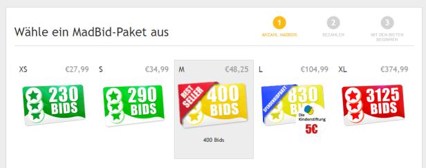 Man kauft Bid-Pakete, die zwischen 28€ und 375€ kosten, um überhaupt mitbieten zu können