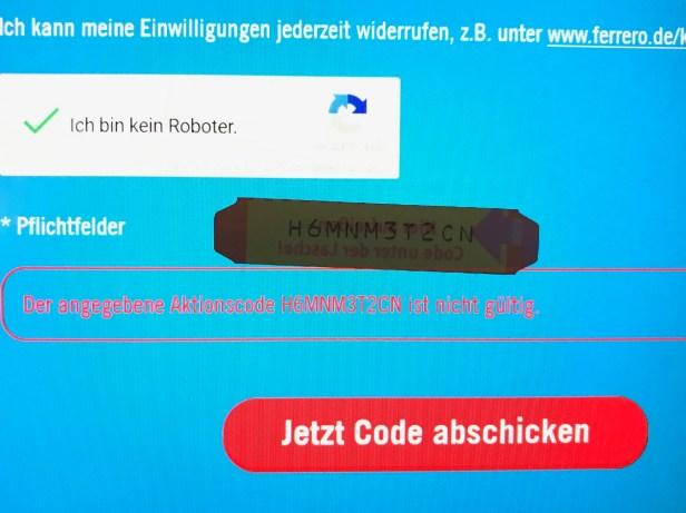 Fehlermeldung Code ungültig