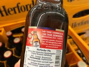 Beschreibung des Gewinnspiels auf Bierflasche