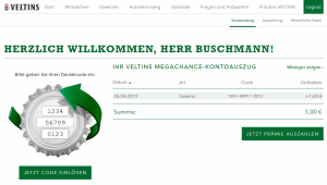 Veltins-Megachance.de Screenshot