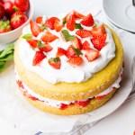 vegan aardbeientaart met slagroom