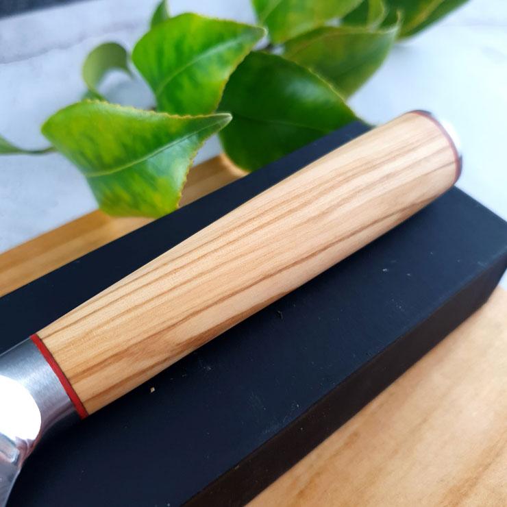 Damast-Ausbeinmesser Olivenholzgriff