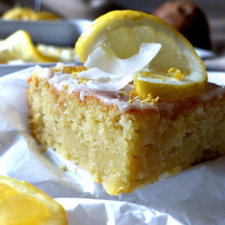 Zitronenschnitten Zitrone Kokos Rezept vegan Kuchen Zitronenkuchen
