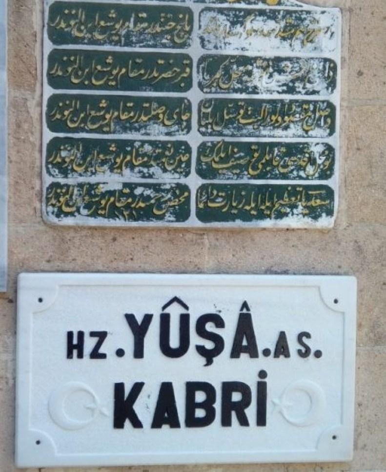 Hz. Yuşa Kabri yazısı