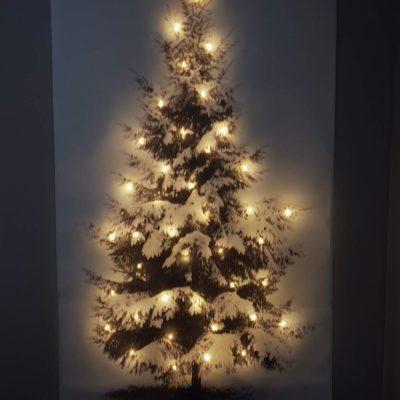 Canvasdoek met Kerstboomprint LED verlichting 65x 107cm !! SHOWROOMMODEL !!