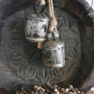Geitenbel zilver aan touw