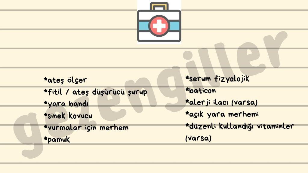 bebekle seyahat için tıbbi malzemeler listesi