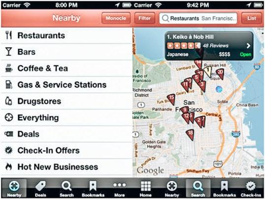 Yurt Dışı İçin En İyi Seyahat Uygulamaları -Yelp ile restaurantları yemek çeşitlerine göre filtreleyebiliyorsun