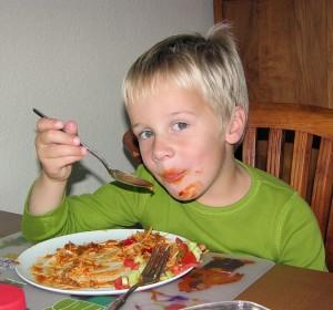 Jeroen aan de spaghetti