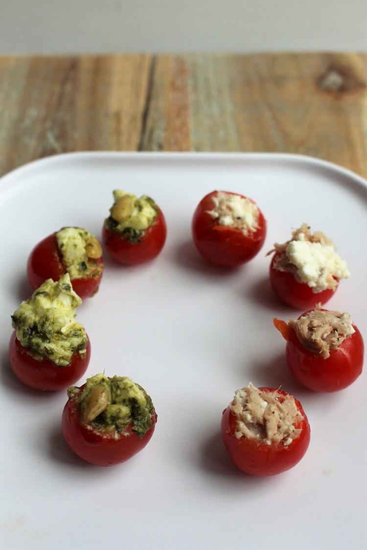 Gevulde tomaatjes op 2 manieren