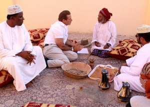 Gary chatting with Frankincense Brokers in Oman