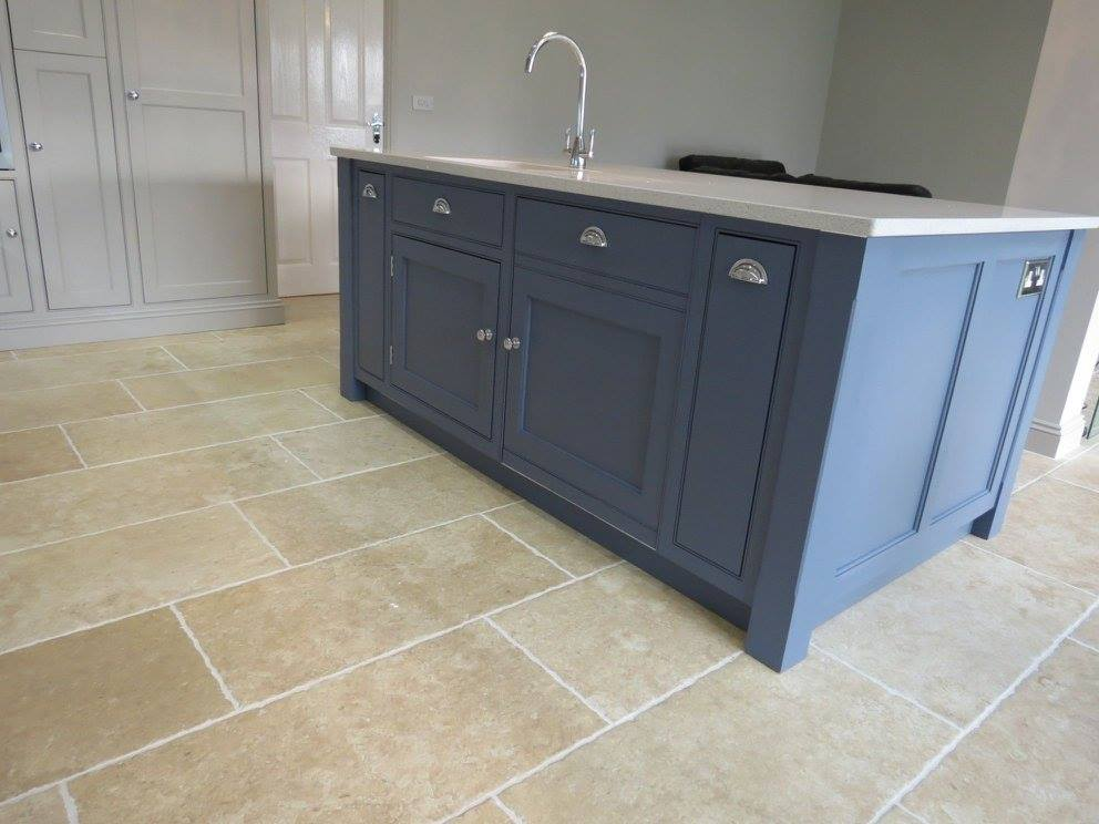 kitchen island with dishwasher accessible sink blue and grey painted – gf cabinet makers