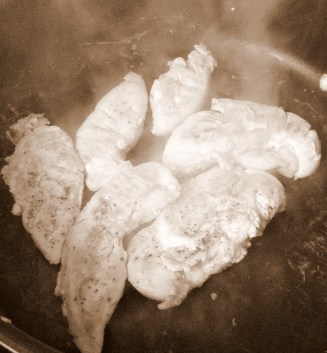 Place the chicken breasts into a pan and fry, until cooked through