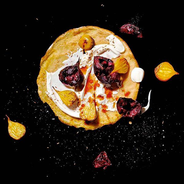 Roasted Beet, Yogurt, Pomegranate Molasses & Toasted Cumin Seeds Crepe